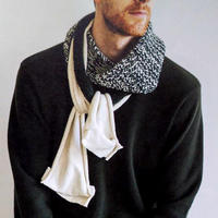 棒针编织与针织布料拼接款男士围巾