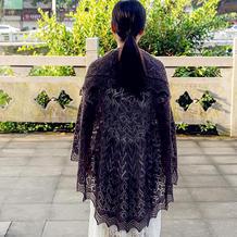 年轮 女士棒针真丝羊绒圆形披肩