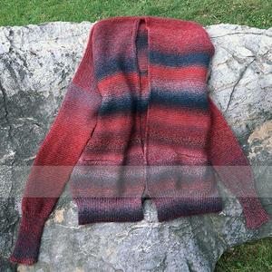 秋词 云彩段染羊毛女士棒针长袖开衫