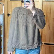 月光 鹿王羊绒线双股编织女士棒针圆肩毛衣