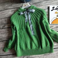 绿豆豆 从上往下分散加针儿童棒针套头毛衣