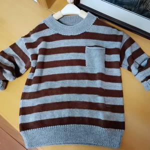 阡陌 喵夫人立冬儿童棒针条纹毛衣