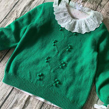 童谣 中性款儿童棒针真丝羊毛套头毛衣