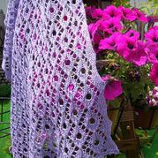 讓人迷戀夢幻紫女士棒針鏤空花長披肩
