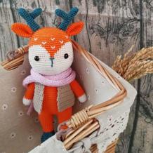 酷酷的鹿先生 公益编织钩针长颈鹿玩偶