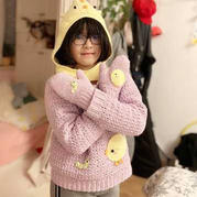 小鸡和毛毛虫 儿童钩针服饰三件套(套头毛衣、帽子、手套)