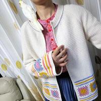 祖母方格全短针民族风女士钩针开衫