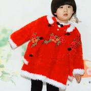 绒绒线开衫毛衣(2-1)儿童棒针新年唐装套裙兴旺xw115视频教程