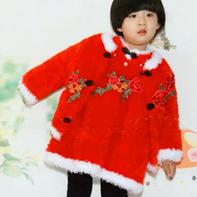 绒绒线连衣裙(2-2)儿童棒针新年唐装套裙编织视频教程