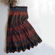 锦秋 云彩段染女士棒针水波纹花样半身裙