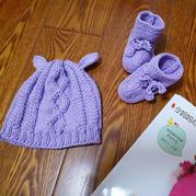 新生寶寶棒針羊羔帽、有幫嬰兒鞋
