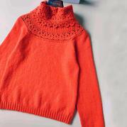 橘色 鉤織結合女士羊絨套頭衫與圍脖