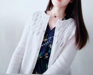 晚白 白色珍珠麻女士棒针圆领开衫