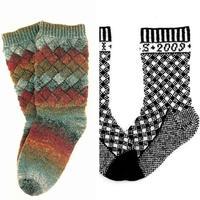 经典提花与白桦编织棒针毛线袜子织法图解