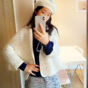 简约时尚女士钩针T型结构披肩式开衫及贝雷帽