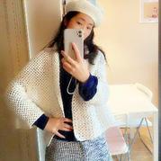 簡約時尚女士鉤針T型結構披肩式開衫及貝雷帽