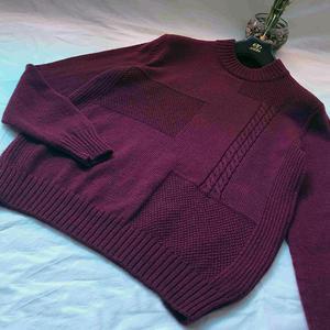 远旭 男士棒针圆领羊绒衫
