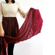 蘭亭序 新手也可織的簡單優雅葉子花搓板針女士棒針披肩