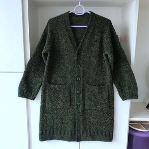 绿葱葱 从上往下织女士棒针V领插肩开衫