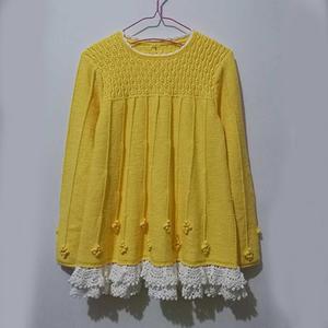 宓 淑女款儿童棒针长袖裙式毛衣
