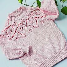 儿童版叶蕾 从领口往下织儿童棒针叶子花后领开扣套头毛衣