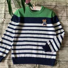 童年 学院风男童棒针条纹羊毛衫