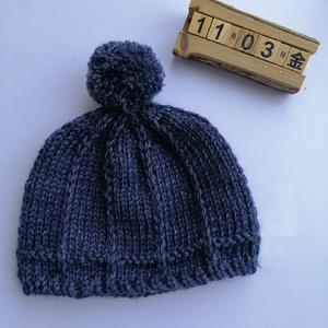 经典简 约儿童棒针绒球毛线帽