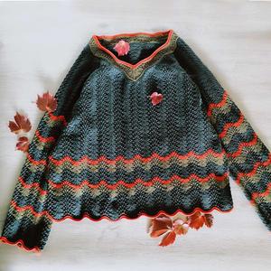 小满足 民族风女士棒针V领毛衣