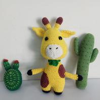 萌趣毛线编织钩针长颈鹿