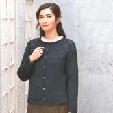自下而上编织的女士棒针圆领开衫毛衣