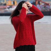 红昭愿 喵夫人霜降女士棒针小V领蕾丝花样复古宽松套衫