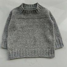 暖灰 经典简约儿童棒针套头毛衣