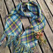 段染线自动形成格子 创意钩针围巾自绘编织图解和教程