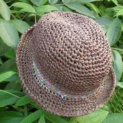 阳光下奔跑 和纸编织钩针亲子遮阳帽
