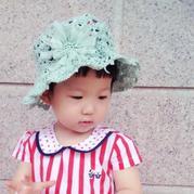 水蓝色宝宝夏季棉草小花帽