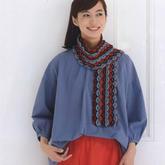 混色编织钩针花瓣条纹围巾