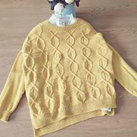 秋黄 侧开衩前短后长女士棒针羊毛衫