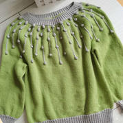 童款情人泪 从领口往下织儿童棒针豆豆针圆肩毛衣