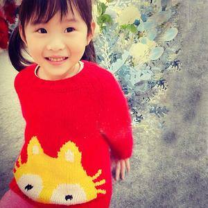 软萌猫咪图案儿童棒针套头毛衣
