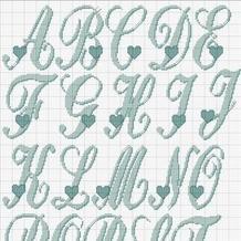 带爱心的26个英文字母编织图案