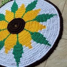 布条线向日葵垫子(4-1)家居钩针编织视频教程