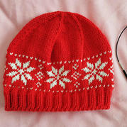 圣誕主題棒針雪花提花帽子