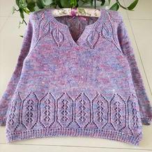 紫月 从上往下织女士棒针Y形领套头毛衣