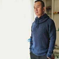 靛蓝 仿彭于晏男士棒针套头毛衣+围脖帽