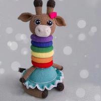 会算术的多彩长颈鹿 叠叠乐钩针玩偶玩具编织教程