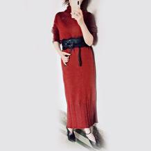 优雅女装编织 娉婷女士棒针连衣长裙
