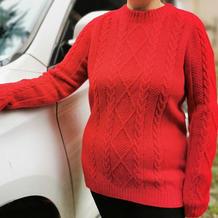 中国红 云绒筒线编织中性款棒针扭花高领毛衣