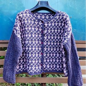 紫薇花开 粉紫双色女士钩针短款长袖开衫