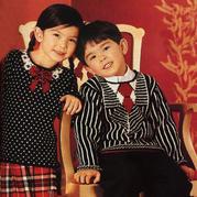 假两件儿童棒针提花图案套头毛衣