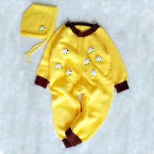 宝宝连体衣与帽子(4-4)从上往下织插肩爬服套装编织视频教程